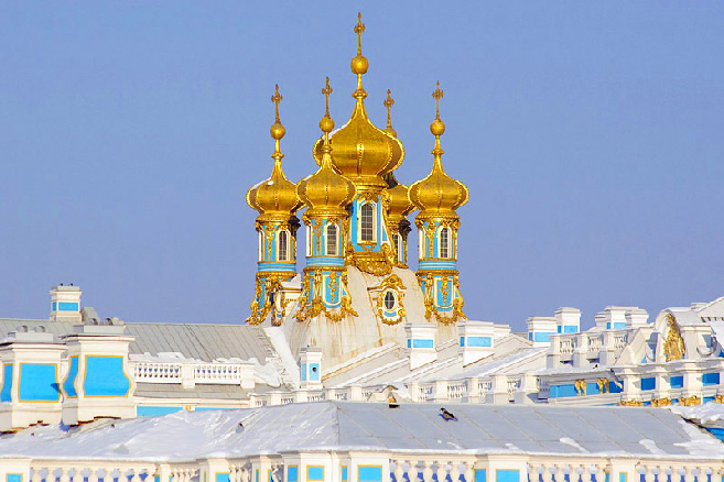 The golden domes of the Church of the Sainted Apostles Peter and Paul in the Grand Palace at Peterhof, Russia