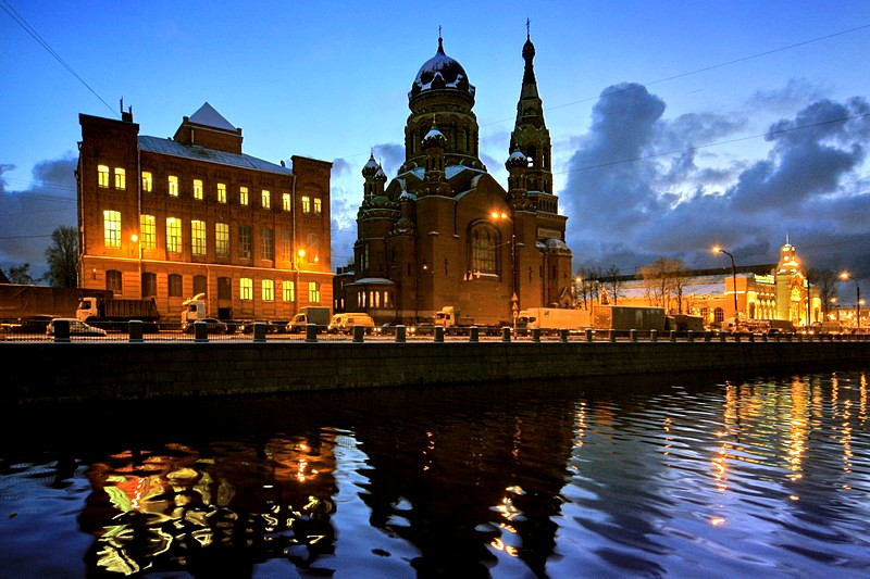 Evening view of the Church of the Resurrection of Christ near the old Warsaw Railway Station in St Petersburg, Russia