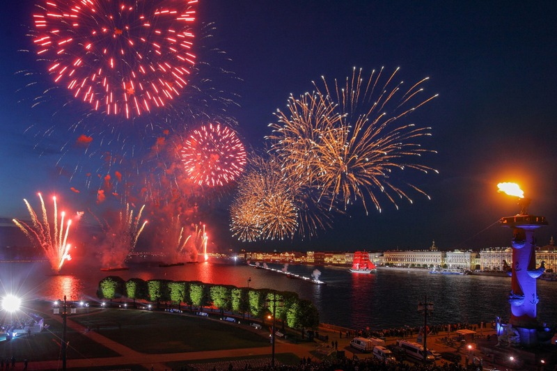 Fireworks over Neva River during the Scarlet Sails festival in St. Petersburg, Russia
