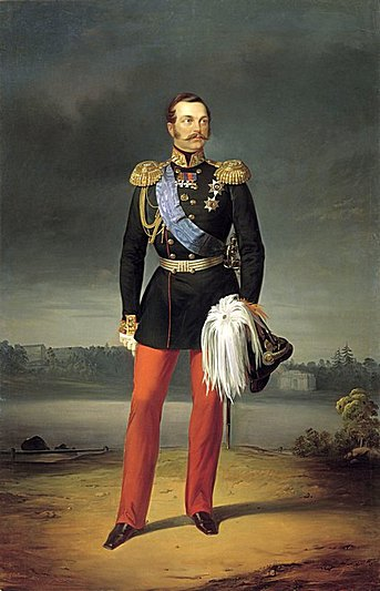 Portrait of Alexander II wearing the greatcoat and cap of the Imperial Horse Guards