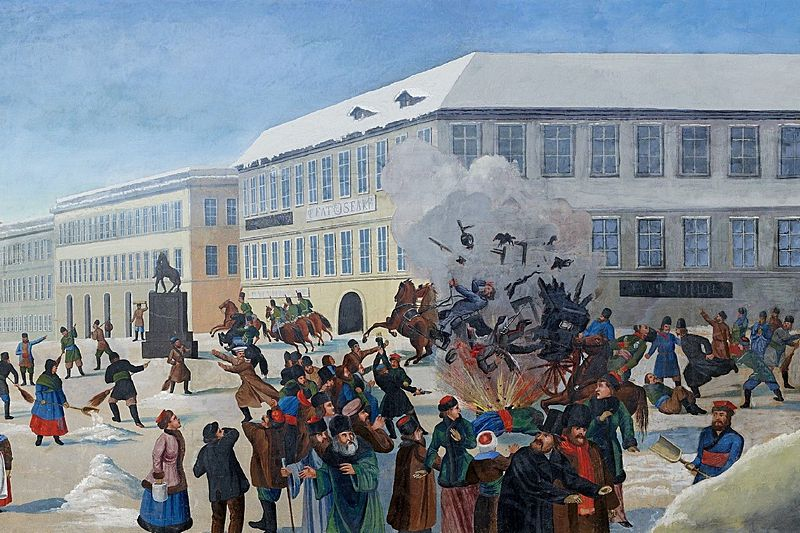 The assasination of Alexander II on 13 March 1881 in St. Petersburg