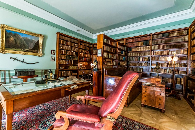 Library and working table of the Alexander Pushkin in St. Petersburg