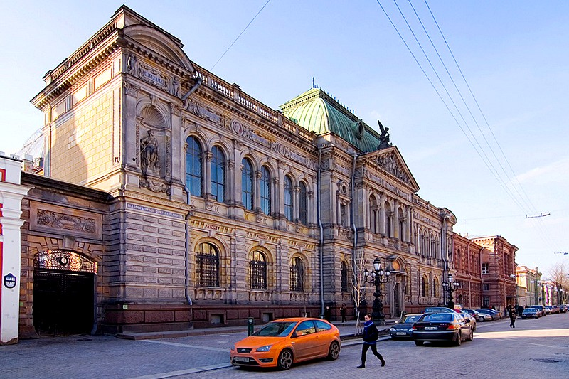 Exquisite Museum of the Stieglitz Industrial Arts School and the school's own building down the street in St Petersburg, Russia