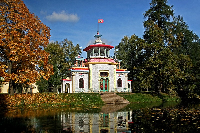 Chinese Pavilion designed by Rinaldi at Tsarskoye Selo, south of St Petersburg, Russia