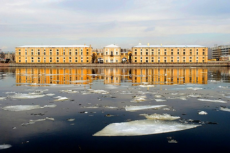 Tuchkov Buyan warehouse on the Petrograd Side in Saint-Petersburg, Russia
