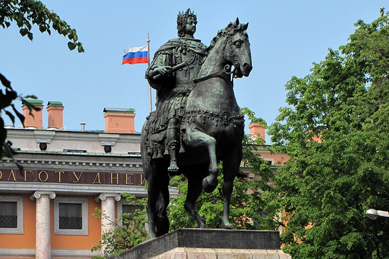 Monument to Peter the Great opposite St Michael's Castle in Saint-Petersburg, Russia