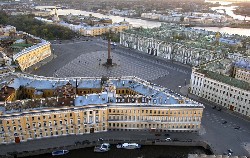 Panorama of Palace Square with Rossi's General Staff Building in St Petersburg, Russia
