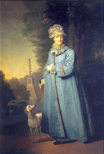 Catherine II walking in Tsarskoye Selo Park (with Chesma Column behind)