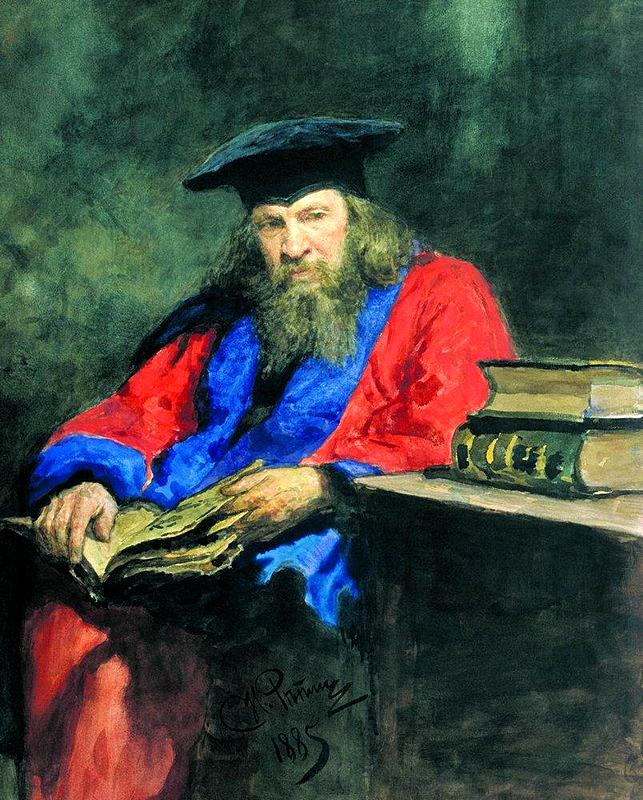 Portrait of Dmitry Ivanovich Mendeleev wearing the Edinburgh University professor robe
