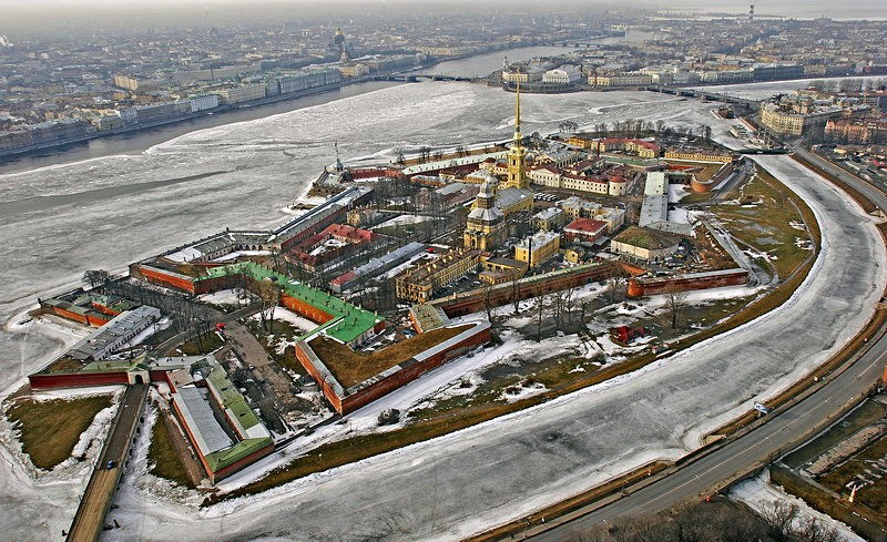General view of the Peter and Paul Fortress, designed by Domenico Trezzini in Saint-Petersburg, Russia