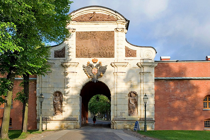 St. Peter's Gate (Petrovskiye Vorota) at the Peter and Paul Fortress, designed by Trezzini in Saint-Petersburg, Russia