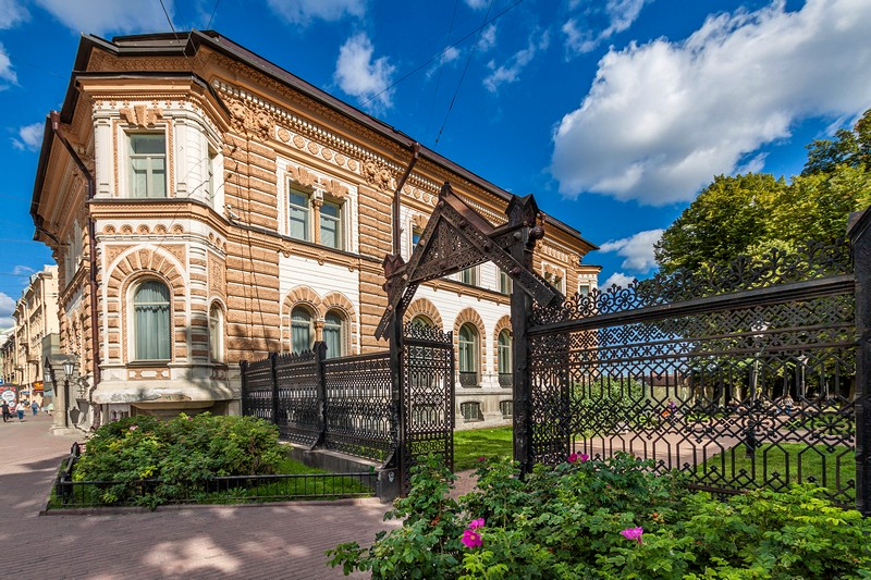 San-Galli Mansion and its elaborate wrought-iron fence in St Petersburg, Russia