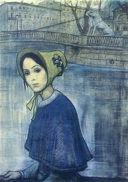 Nastenka. Illustration to Dostoevsky's novella White Nights