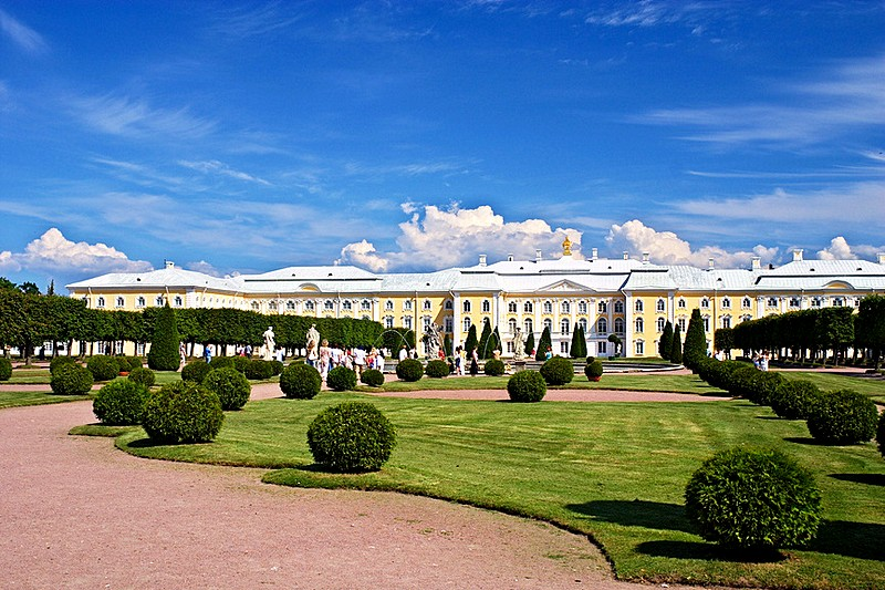 Upper Garden at Peterhof designed by Le Blond, west of St Petersburg, Russia