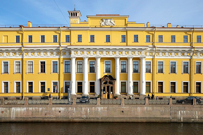 Famous Yusupov Palace on the Moyka River Embankment designed by Vallin de la Mothe in Saint-Petersburg, Russia