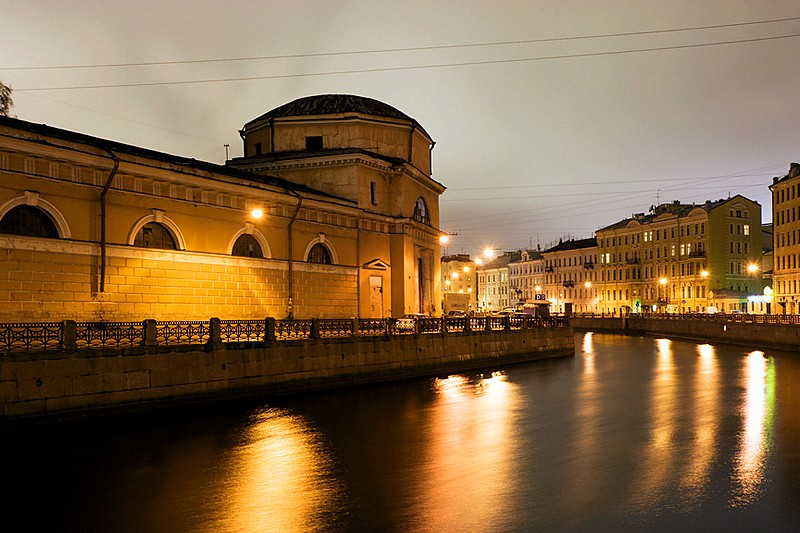 Building of the Royal Stables Offices built by Rusca on the Moyka River Embankment in St Petersburg, Russia