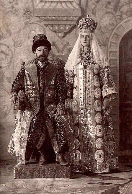 A postcard showing Nicholas II and Alexandra Fedorovna in traditional Russian dress at a costume ball