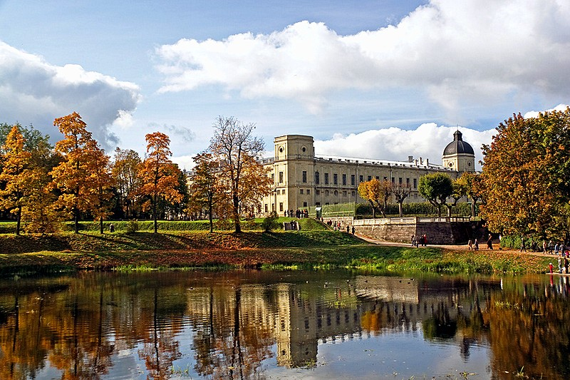 Gatchina Park and Gatchina Palace of Paul the First, south of Saint-Petersburg, Russia