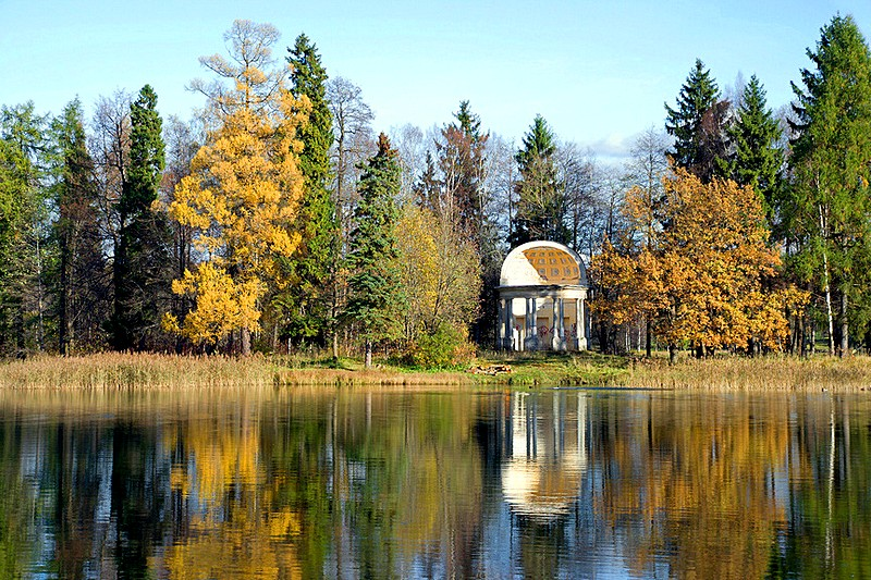 Eagle Pavilion in the park at Gatchina, royal estate south of Saint-Petersburg, Russia