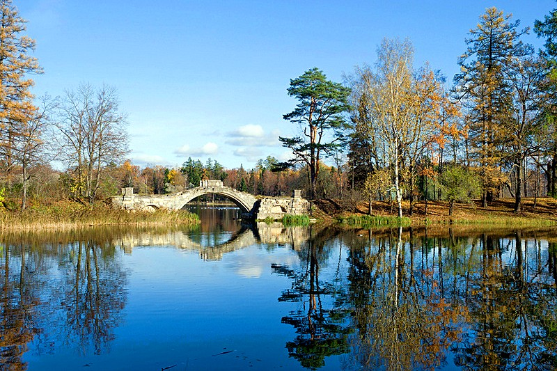 Hump-backed Bridge in the park in Gatchina, royal estate south of St Petersburg, Russia
