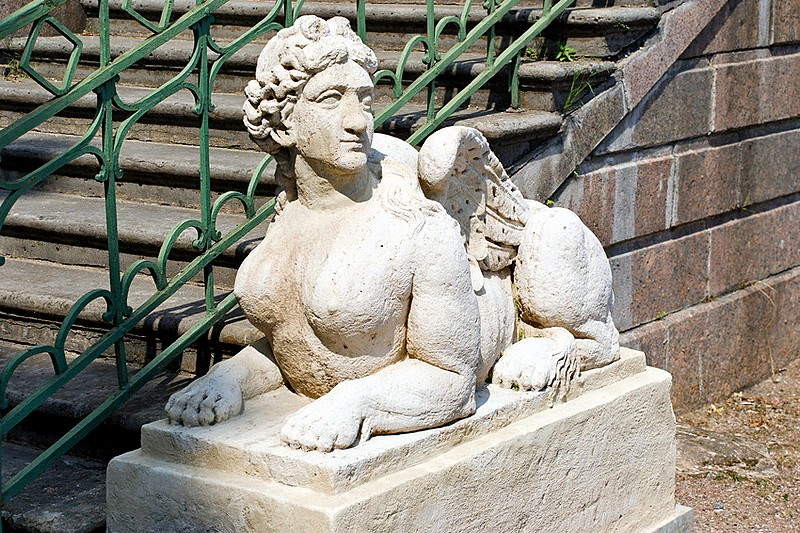 Sphinx in the Private Garden of Gatchina Palace in Gatchina, a royal estate south of St Petersburg, Russia