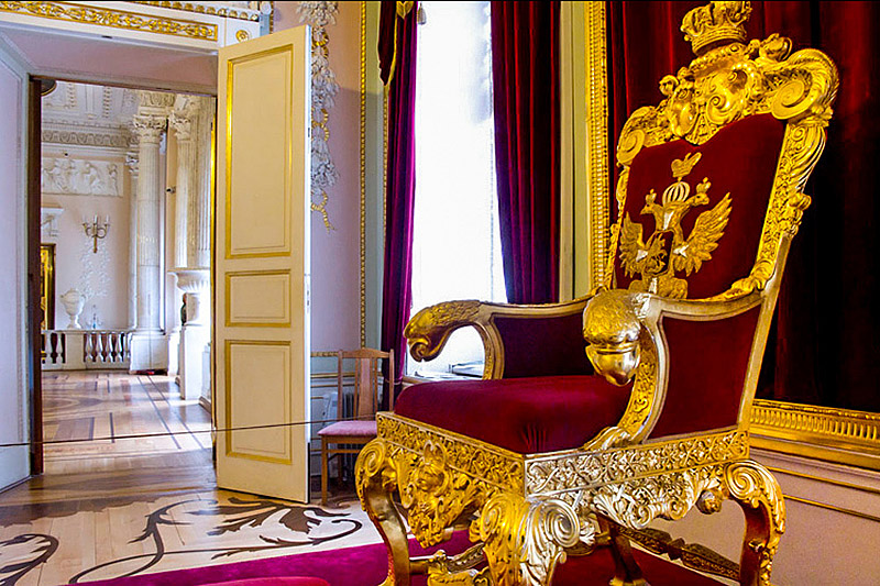 Throne of Emperor Paul I at Gatchina Palace in Gatchina, royal estate south of St Petersburg, Russia