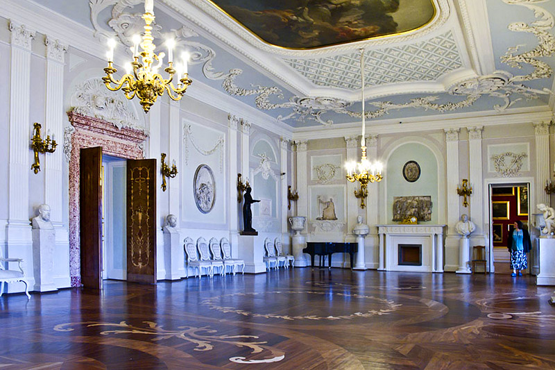 White Hall at the Grand Palace in Gatchina, royal estate south of St Petersburg, Russia