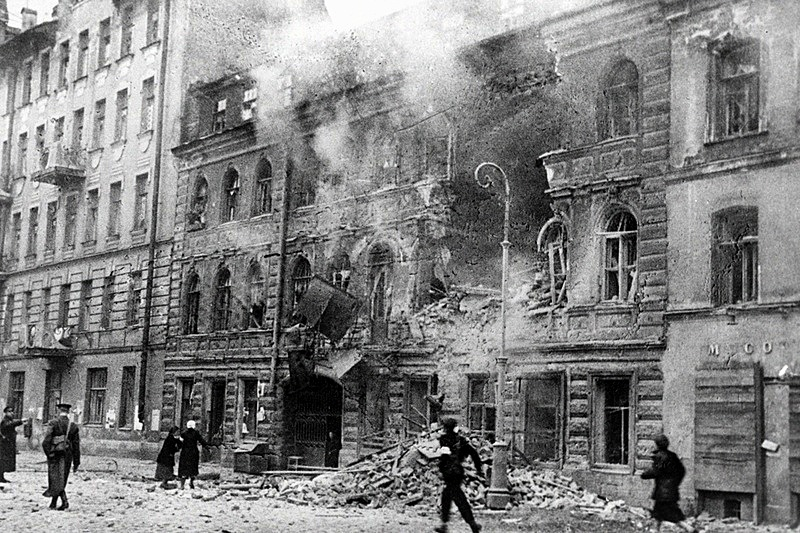 A street after a German artillery raid during the Siege of Leningrad, Russia