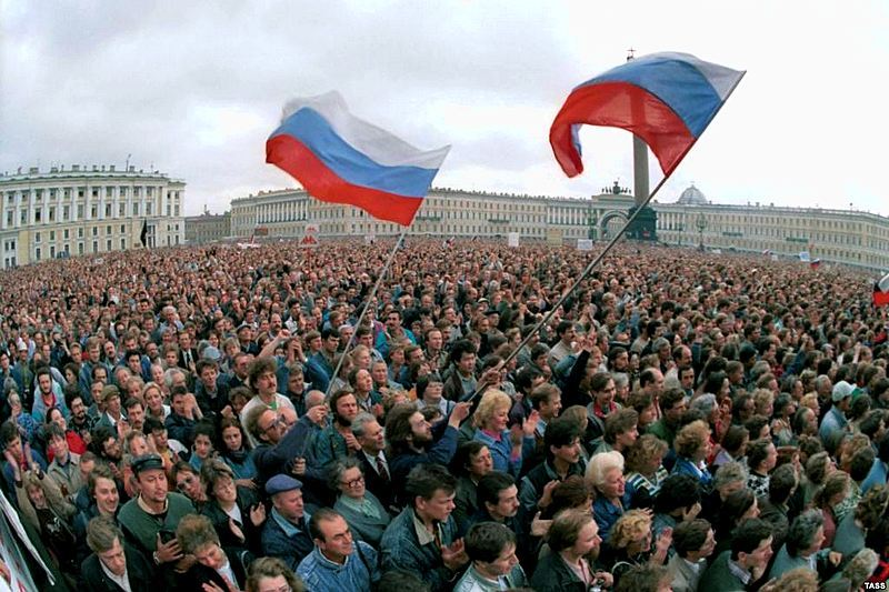 Leningrad protestors on Palace Square during the August Putsch, 1991 in St. Petersburg, Russia