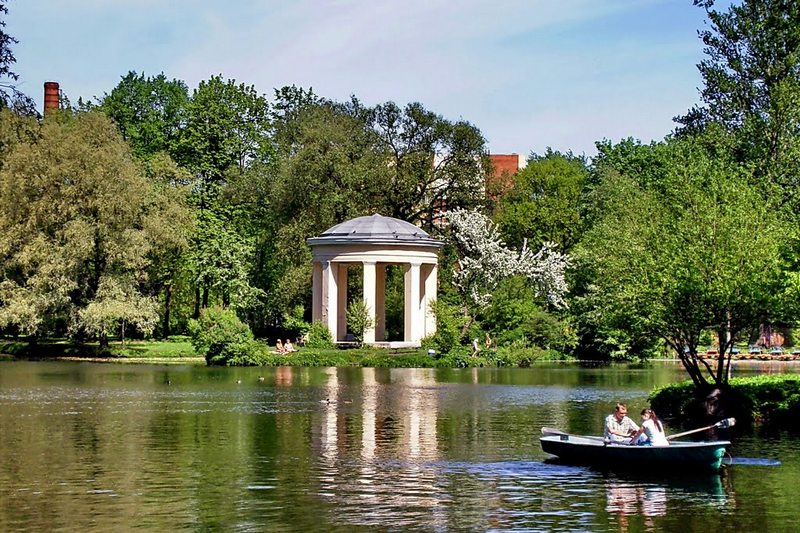 Island and rotunda in Catherinehof Park in St. Petersburg, Russia