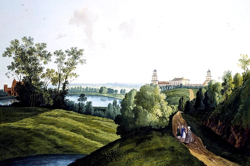 Landscape in Tsarskoye Selo Park with a view of the farm and Hermitage