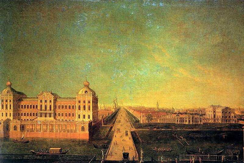 Nevsky Prospekt, Anichkov Palace and the mansion of I. I. Shuvalov in the late 18th century