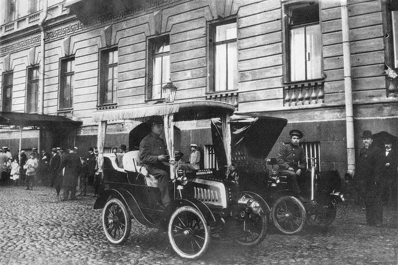 First taxis on the streets of St. Petersburg in 1908, Russia