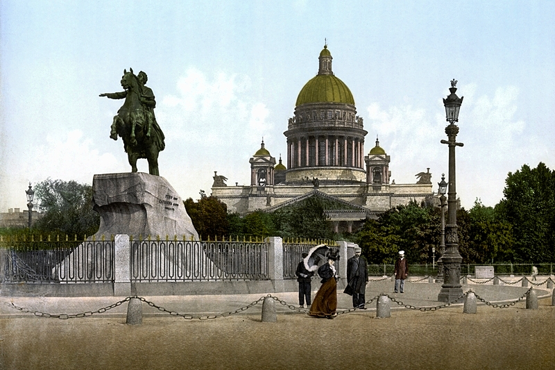 Senate Square. The Bronze Horseman and St Isaac's Cathedral in St. Petersburg, Russia