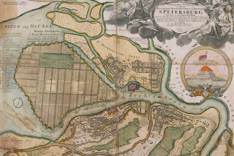 Map of St. Petersburg in the 1720s by Johann Homann