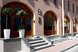 Entrance of the 3MostA Hotel in St. Petersburg