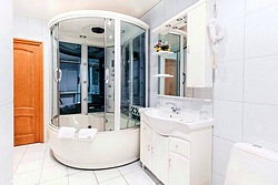 Bathroom of the Two-bedroom Apartment at the Atrium Hotel in St. Petersburg