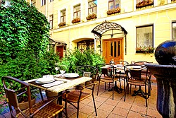 Courtyard Terrace at the Helvetia Hotel in St. Petersburg