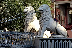 Lions near the History Hotel on Kanal Griboedova at the History Hotel on Kanal Griboedova in St. Petersburg