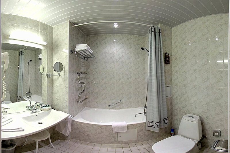 Bathroom of the Studio at the Oktiabrskaya Hotel in St. Petersburg