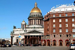 Facade and Cathedral at the Rocco Forte Hotel Astoria in St. Petersburg