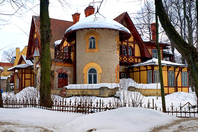 Romantic Hauswald House on Stony Island in St Petersburg, Russia