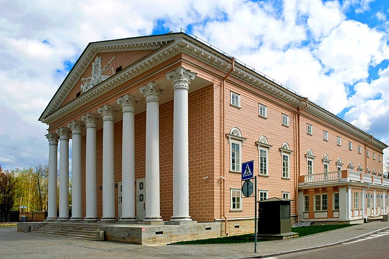 Wooden neoclassical Kamennoostrovskiy Theater on Stony Island in Saint-Petersburg, Russia