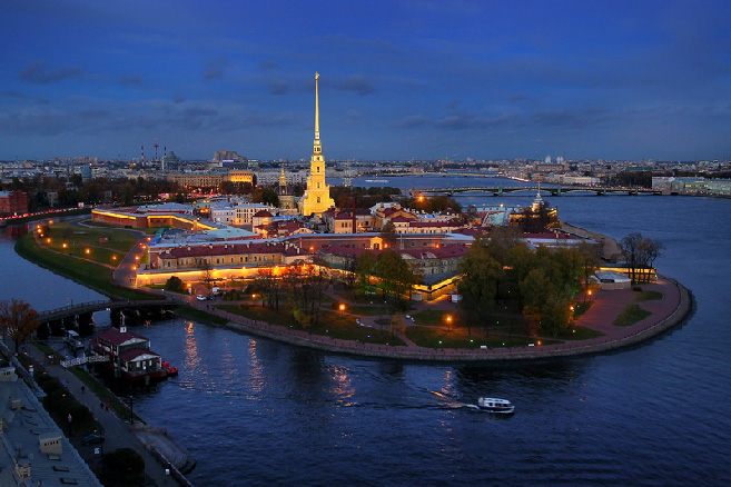 The Peter and Paul Fortress on Zayachy Ostrov (Hare Island) of St. Petersburg, Russia