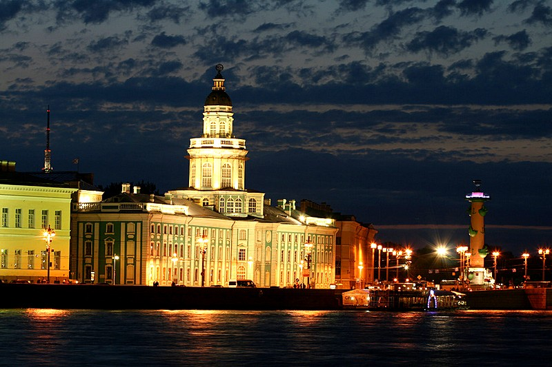 Spit of Vasilyevsky Island during the White Nights in St Petersburg, Russia
