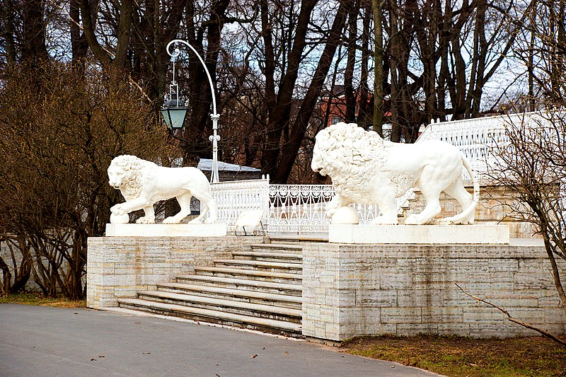 Lion statues on the steps of Yelagin Palace in St Petersburg, Russia