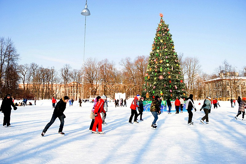 Skating Rink around a Christmas tree on Yelagin Island in Saint-Petersburg, Russia