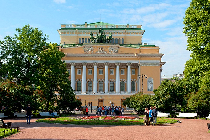 Alexandrinsky Theatre on Ploshchad Ostrovskogo in St Petersburg, Russia