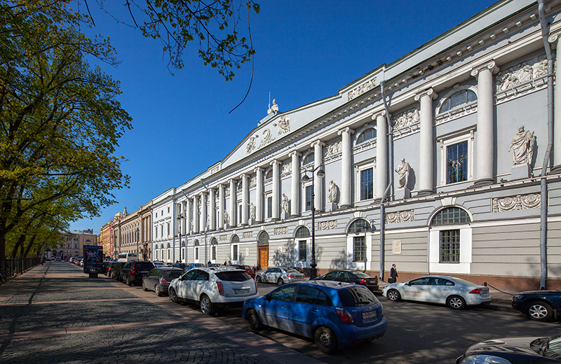 Carlo Rossi's Russian National Library building on Ploshchad Ostrovskogo in St Petersburg, Russia