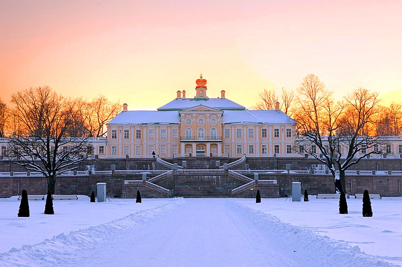 Grand Menshikov Palace in Oranienbaum dominates the surrounding grounds, west of St Petersburg, Russia